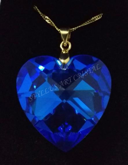 Namorados Colar Cristal Swarovski Sapphire Boreal Folh. Ouro