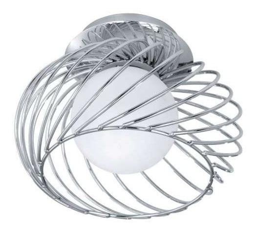 Luminária De Teto Lustre Aço Cromado Vidro Jateado Retorcido