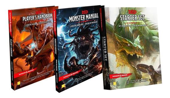 Kit Dungeon Dragons 2 Livro E Starter Set Portugues Rpg