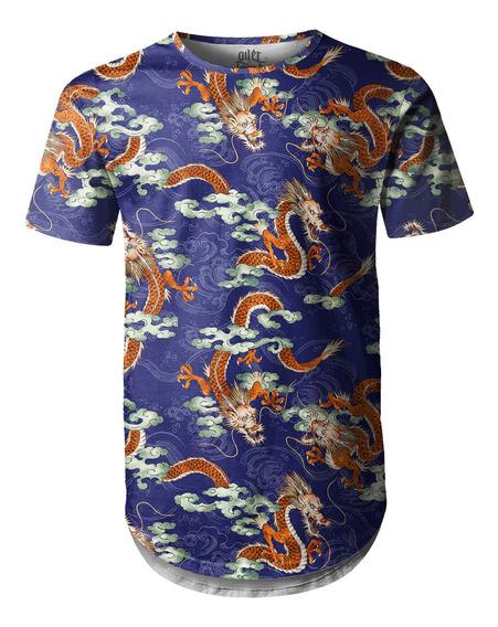 Camiseta Masculina Longline Swag Dragão Chinês