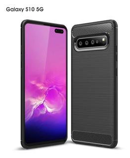 Capa Galaxy S10 Luxo Slim Telefone Fibra+ Película Gel