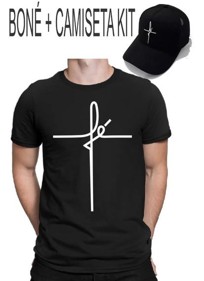 Boné Fé Aba Curva + Camiseta Camisa Trucker Snapback Oferta