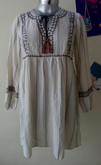 Vestido Mujer Boho Bordado Manga Larga Talla L Mex 36-38