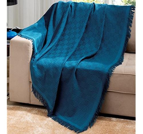 Azul Algodon De Brasil Londres Manta Con Flecos 63 X 87 Pul