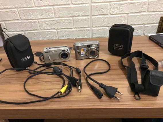 Câmeras Fotográficas (duas) Cyber Shot + Acessórios Da Foto