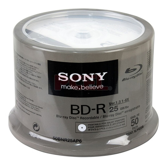 50 Dvd Bd-r Blu Ray Imprimible Sony 25 Gb 6x Facturado Full