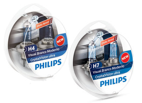 Kit Lampadas Philips Crystal Vision Ultra H4 + H7 4300k