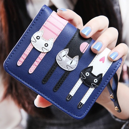 Cartera Monedero De Cuero Con Gatos Bordados En Relieve 3d