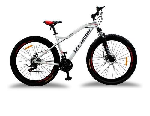 Imagen 1 de 1 de Mountain bike Kugel Ciclismo Horus  2021 R29 L 21v frenos de disco mecánico cambios Shimano Tourney color blanco/rojo con pie de apoyo