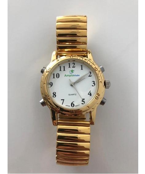 Relógio Falante Masculino Dourado Pulseira Elástico