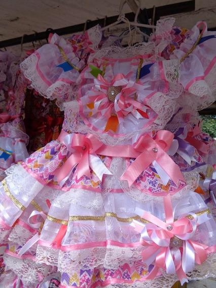 Vestido Junino Na Cor Rosa Lavanda , De Luxo, Já Enfeitado