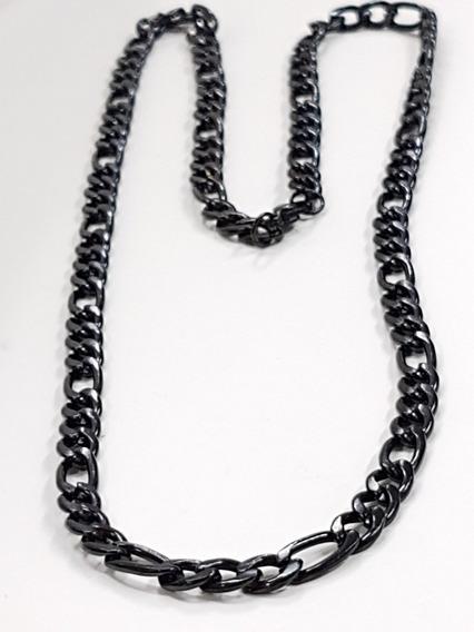 Cadena De Acero Inoxidable Negro 60cm Largo 5 Mm De Eslabon
