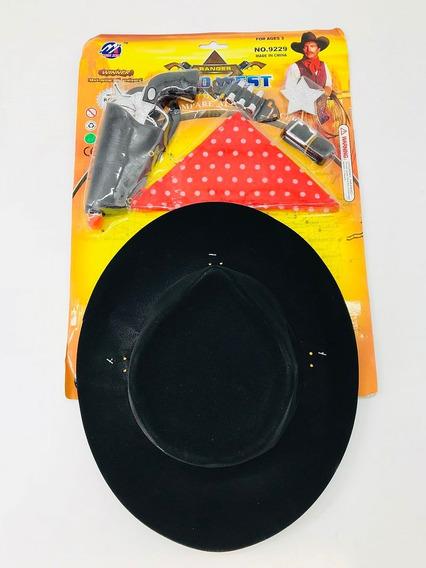 Set Lejano Oeste Baquero Sombrero Pañuelo Pistola Placa