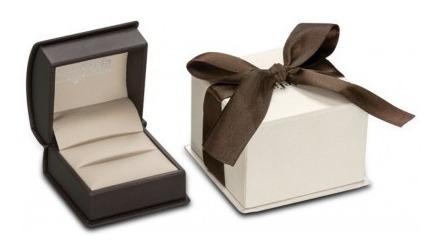 Estuche Beige Con Caja Y Moño Para Anillo Premium Compromiso