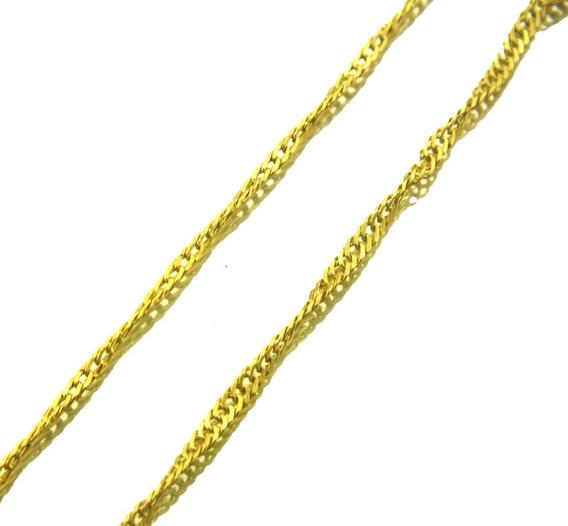 Corrente Elo Singapura Em Ouro 18k Amarelo 750 56cm J20151