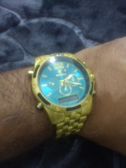 Relógio Digital E Analógica Dourado Social Exclusivo