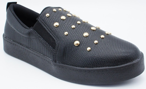 Tenis Bebece Slip On Bolinhas - Out2113401 Preto Napa