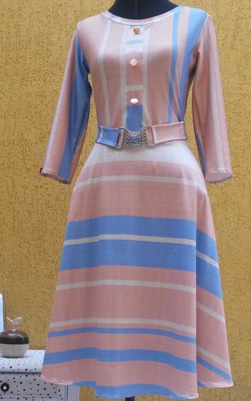 Vestido Feminino Midi Estampado Listrado Manga Evangelico