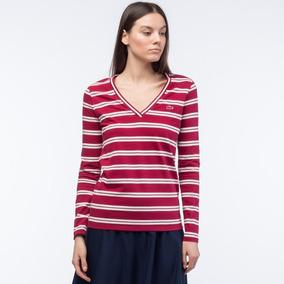 66e304ce5ac Blusa Camiseta Lacoste Decote Gola V Feminina Listrada