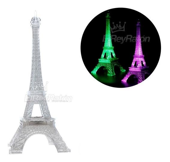 Torre Eiffel Paris Plastico Transparente Luz Led 25cm M77