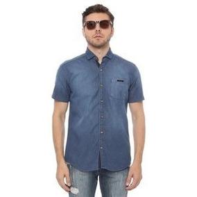 Camisa Acostamento Jeans Muscle Black Royal Com Bolso. Azul
