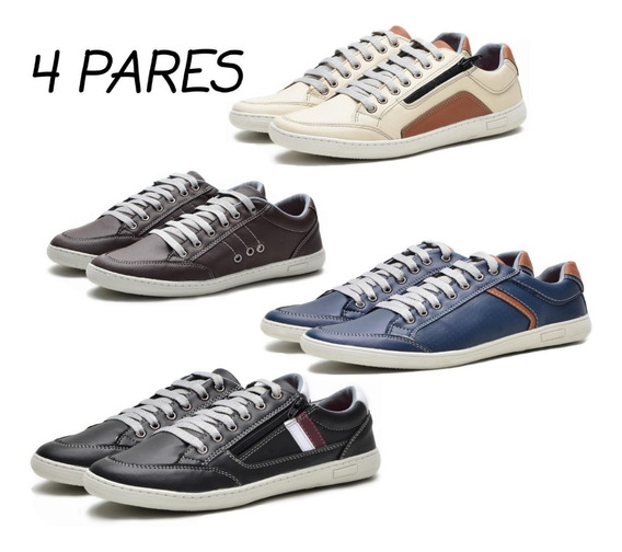 Sapato Tenis Mocassim Sapatilha Combo 4 Par Super Promoção Docksaide Masculino Sola Costurada