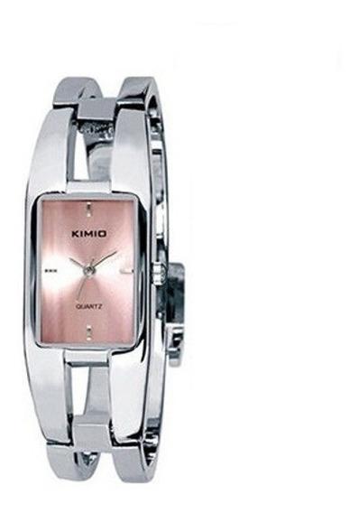 Relógio Retangular Feminino Bracelete Kimio Prata Rosa 1601
