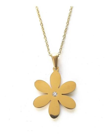 Collar Flor Con Cristal | Acero Inoxidable