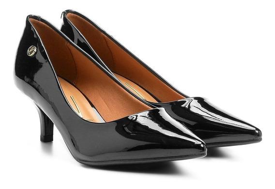 Sapato Scarpin Salto Baixo Bico Fino Verniz Vizzano