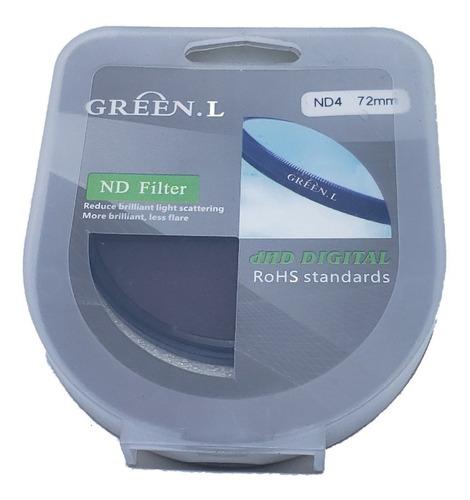 Imagem 1 de 3 de Filtro Lente Nd4 - 72mm - Green. L - Densidade Neutra