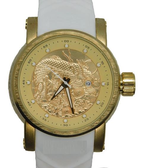 Relógio Masculino Dourado Luxo Importado Dragon + Caixa