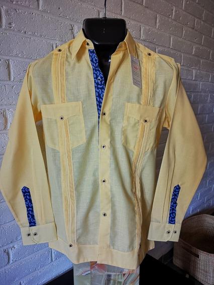 Guayabera Artesanal Camisa Combinada Amarillo/azul