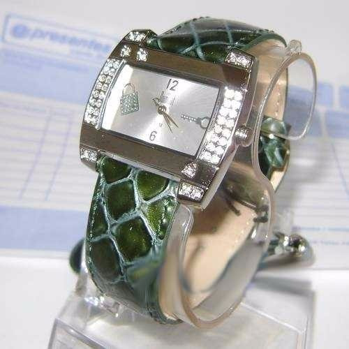 Relógio Feminino Dumont Sw35544s Strass Pulseira Couro Verde