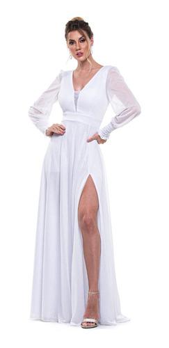 Vestido Lurex Festa Madrinha Manga Longa Elastex Punho