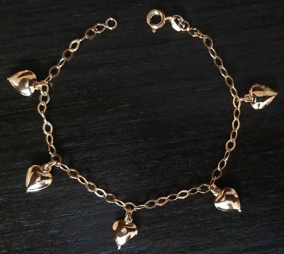 Bracelete Pulseira Feminina Corações Banho Ouro 18k R.276
