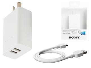 Cargador Ultra Rapido Doble Sony Cp-ad2m2 Usb + Cable