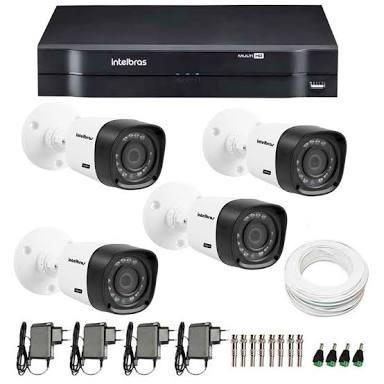 Kit Cftv Intelbras + 4 Câmeras Vhd 1120b G3 + Acessórios