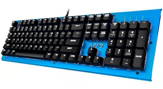 Teclado Mecanico Gamer Azio Mk Hue Cherry Brown Ingles Azul