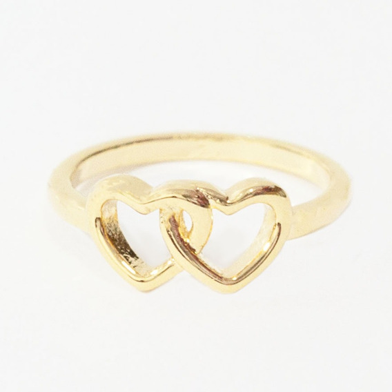 Anel De Falange Coração Duplo Dourado Tam. 13