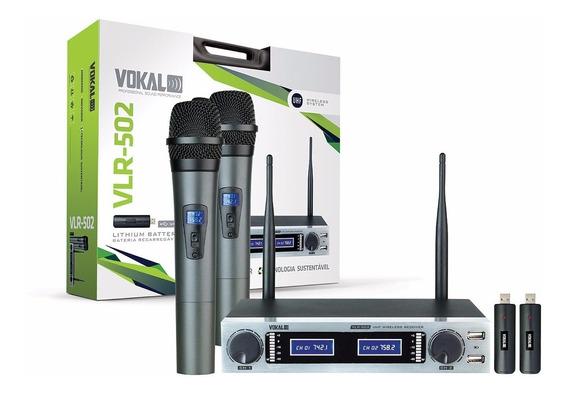 Microfone S/fio Vlr502 Mão Duplo Vokal Bat.recarregável Uhf