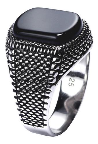 Imagem 1 de 10 de Anel Prata 925 Masculino Black Onix- Tamanhos Exclusivos