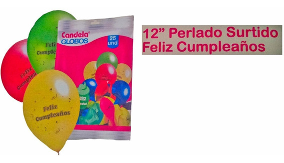 25 Globos Perlados Feliz Cumpleaños - Oferta La Golosineria