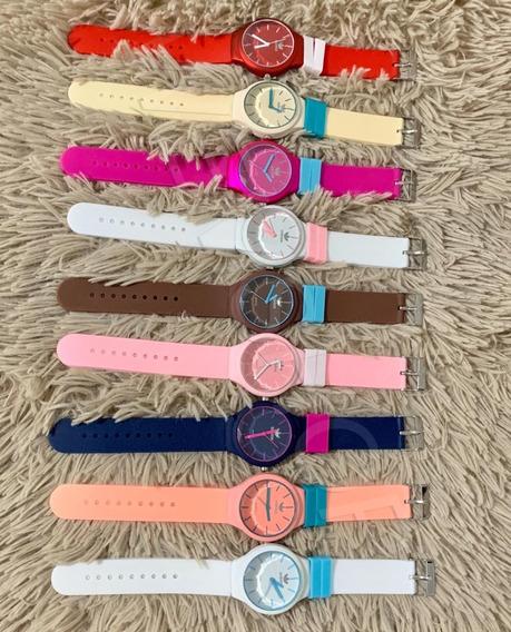 Kit 10 Relógios Colorido Feminino Masculino Barato+caixinha