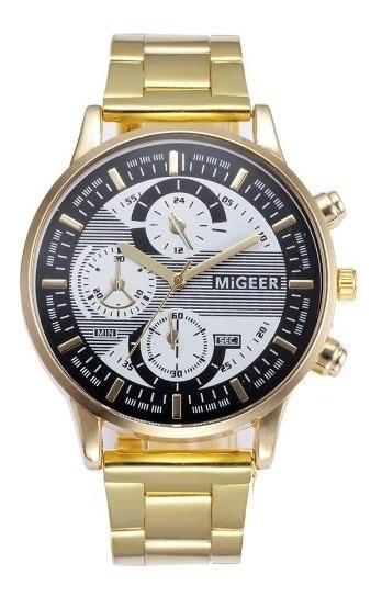 Relógio Migeer Analógico De Aço Inoxidável