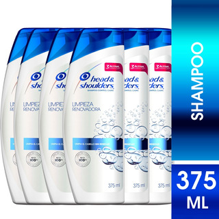 Pack 6 Shampoo Head&shoulders Limpieza Renovadora 375ml