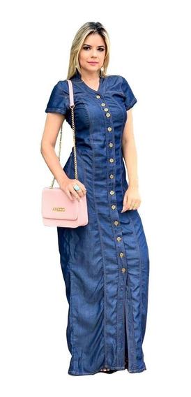 Roupas Femininas Vestidos Femininos Vestido Longo Jeans 054