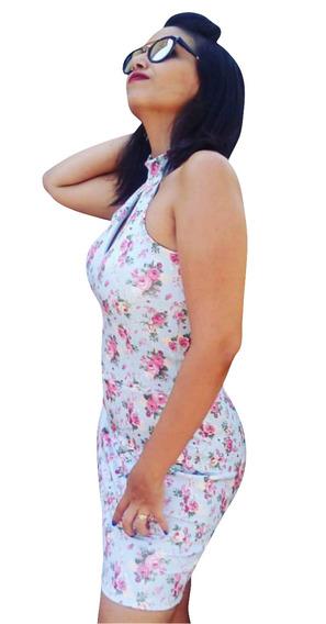 Vestido Feminino Curto Florido Azul Com Rosa Frete Gratis