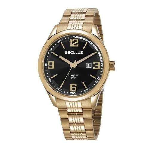 Relógio Seculus Masculino Long Life Dourado 23645gpsvda3