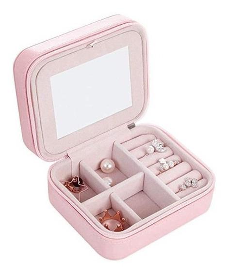 Alhajero Joyero Organizador Espejo Compartimientos Rosa