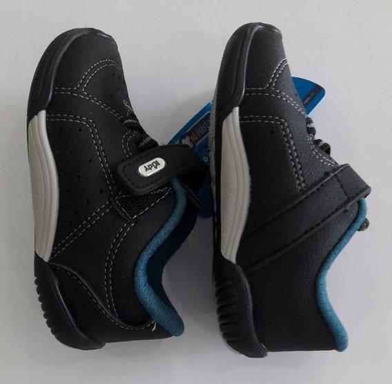 Tênis Kidy Preto/azul Petróleo Infantil Velcro